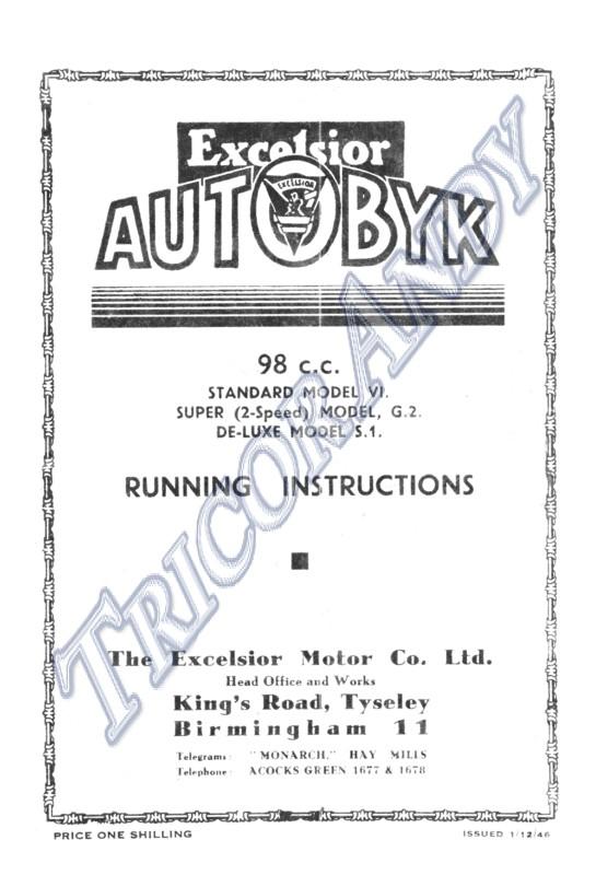 Excelsior 1947 49 Autobyk Models V1 S1 G2 Running Inst